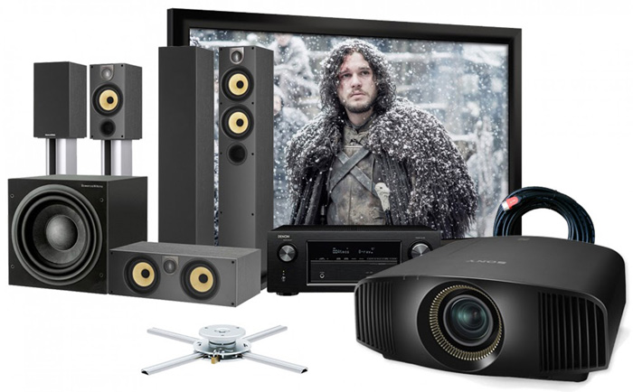 Máy chiếu 4K cho phòng chiếu phim tại gia sang trọng và hiện đại.