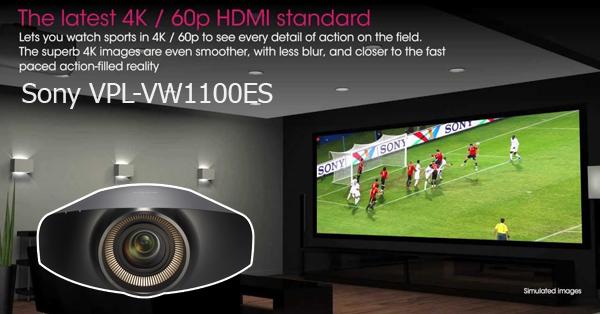 VPL-VW1100ES hiển thị lên đến 60p, tiêu chuẩn ngành công nghiệp mới cho 4K